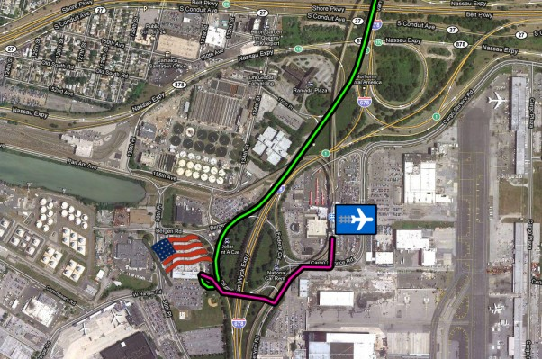 Follow these directions to NAA's Bldg 141 at JFK! Green is the driving route, purple is for walking/public transport. (click to enlarge)