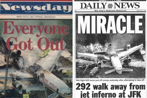 Covers of Newsday and the Daily News covering the TWA Flight 843 accident.