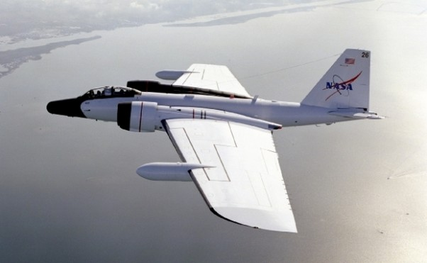A NASA WB-57 like this one will take part in the new wave of hurricane testing later this summer.