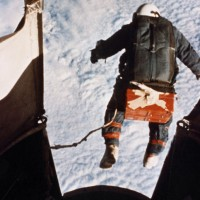 Joseph Kittinger&#039;s record-breaking skydive from 102,800 feet (31,300 m). (Photo by US Air Force)