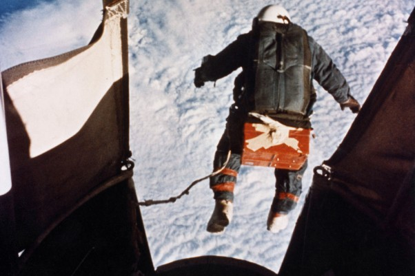Joseph Kittinger's record-breaking skydive from 102,800 feet (31,300 m). (Photo by US Air Force)