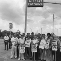 PATCO air traffic controllers picket outside of Bishop Airport in Flint, Michigan.