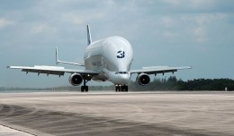 A Beluga aircraft arrives at the Shuttle Landing Facility [Photo credit: NASA/Jim Grossmann]