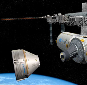 Artist's rendering of a Boeing CST-100 spacecraft approaching a rendezvous International Space Station.