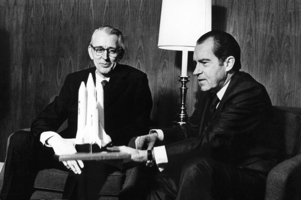 President Richard M. Nixon and Dr. James C. Fletcher, NASA Administrator, discuss the proposed Space Shuttle vehicle in San Clemente, California, on January 5, 1972. (Photo by NASA)