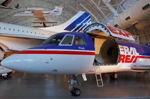 The first FedEx aircraft to carry a package, a Dassault Falcon 20 (N8FE), on display at the Smithsonian National Air and Space Museum's Steven F. Udvar-Hazy Center. (Photo by Christopher Owens)