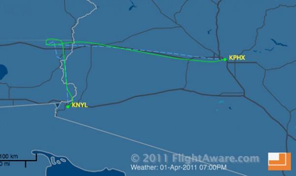 Southwest Flight 812 flight path. (Courtesy of FlightAware.com)
