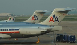 Two American Airlines MD-80s parked at the gate in Nashville. (Photo by Matt Molnar)