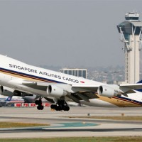 Singpore Airlines Cargo 747-400F taking off at LAX