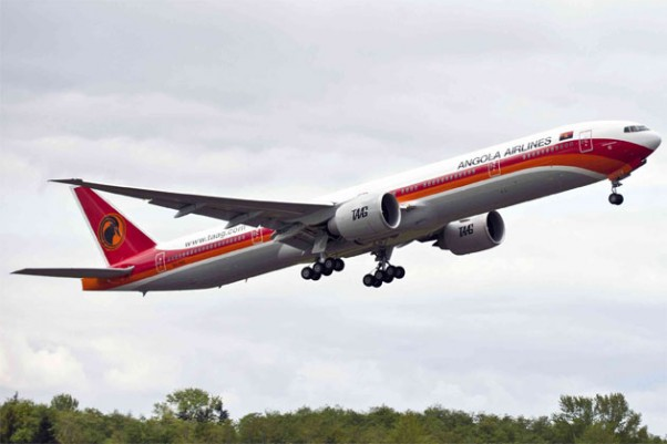 TAAG Angola Airlines's first Boeing 777-300ER (D2-TEG). (Photo by Boeing)