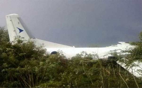 IrAero Antonov An-24 RA-46561 sits in bushes after crashing in Blagoveshchensk, Russia