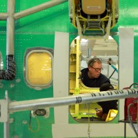 Worker inside the fuselage of a new Boeing 737-800