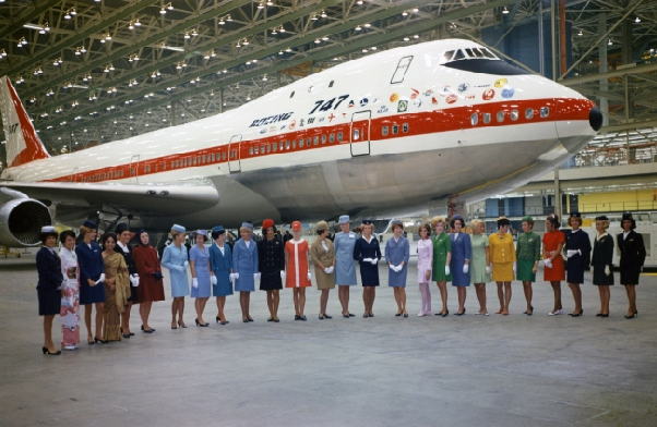 At the rollout ceremony in Everett, Wash., flight attendants representing each of the 26 airlines with early-orders for the 747. (Image: Boeing)