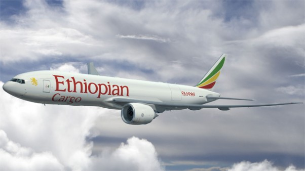 Artist rendering of a new Ethiopian Airlines Cargo Boeing 777 Freighter
