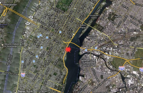 East River Helicopter Crash map. (Map by NYCAviation/Google Maps)