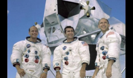 Apollo 12 crew: Pete Conrad, Richard Gordon, Alan Bean (Scroll down for video of the moon landing.)
