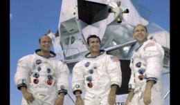 Apollo 12 crew: Pete Conrad, Richard Gordon, Alan Bean (Scroll down for video of the moon landing.)