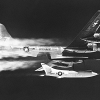 A Douglas D-558-2 Skyrocket is dropped from a US Navy Boeing P2B Superfortress, the Navy's version of the B-29. (Photo by NASA)