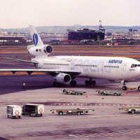 Sabena MD-11 at Newark Airport, circa 2000. (Photo by Tom Turner)