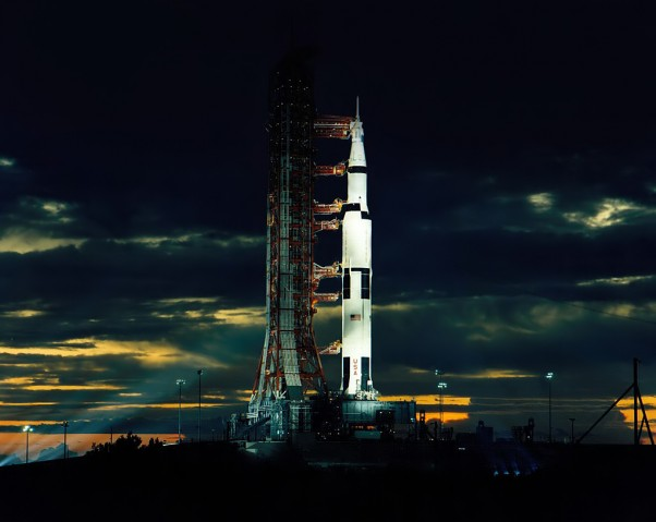 Apollo 17 awaits launch at Cape Canaveral. (Photo by NASA)