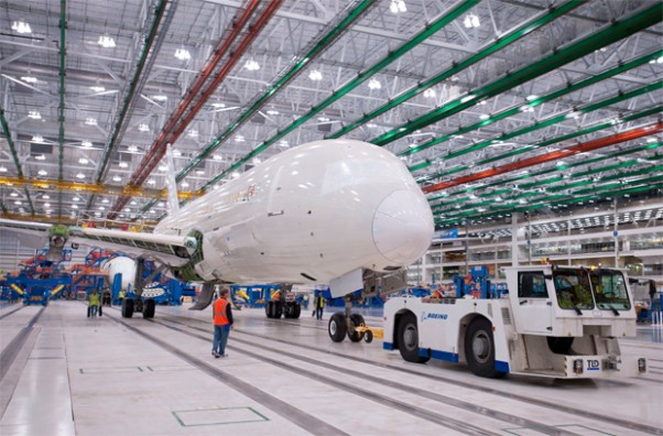 The first South Carolina-built 787 moves to Final Assembly Position 3 early in the morning of Dec. 18, shortly after achieving weight on wheels for the first time