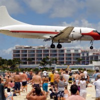 This old Convair 440 Metropolitan is nearly 60 years old and still buzzing the crowd at SXM