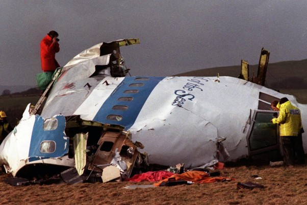 Wreckage of Pan Am Flight 103 in Lockerbie, Scotland. (Photo by AP)