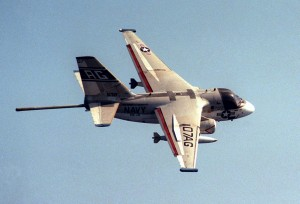 S-3B Viking, with magnetic anomaly detector (MAD) extended, used to detect submarines.