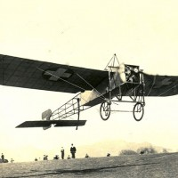 Bleriot XI begins a flight over the Alps circa 1913.