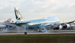 "Cathay Pacific Cargo's Boeing 747-8 Freighter (B-LJA) ""Hong Kong Trader"" touches down in Miami."