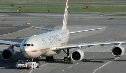 Etihad A340-500 A6-EHB seen here getting tugged at JFK, wil soon join the fleet of Conviasa