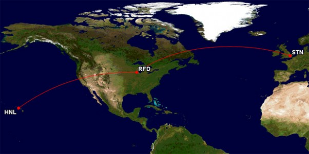 HNL-RFD = 4181 miles. RFD-STN = 4001 miles. 20 hours on a 767 = Priceless.