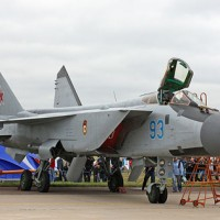 Mikoyan-i-Gurevich MiG-31BM Foxhound on display at 2009 MAKS Airshow.