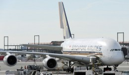 Singapore Airlines Airbus A380 9V-SKK parked at JFK Airport in New York