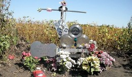 The Day the Music Died memorial at the crash site near Clear Lake, Iowa.