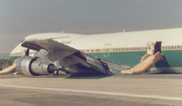AP-AYW after it made belly landing at Islamabad Airport on February 4, 1986