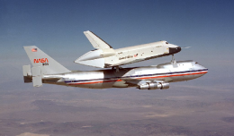 Enterprise during a captive flight. [Photo: NASA]