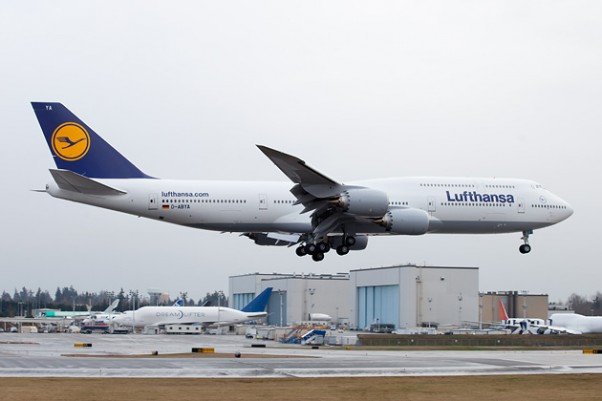 Lufthansa expects to fly this Boeing 747-8I (D-ABYA) home to Germany in the Spring. (Photo by Liem Bahneman)