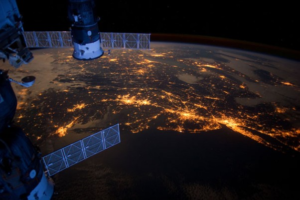 Photo of the Day: In this nighttime photo from the International Space Station, Long Island and the New York City area are visible in the lower right, Philadelphia and Pittsburgh are near the center. Parts of two Russian vehicles parked at the orbital outpost are seen in left foreground.