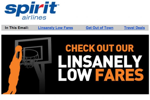 Spirit Airlines Linsanely Low Fares
