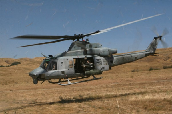 U.S. Marine Corps pilots from Marine Light Attack Helicopter Training Squadron 303, Marine Aircraft Group 39, 3rd Marine Aircraft Wing, prepare to land a UH-1Y Huey belonging to the squadron, during confined area landing training at Marine Corps Base Camp Pendleton in 2008