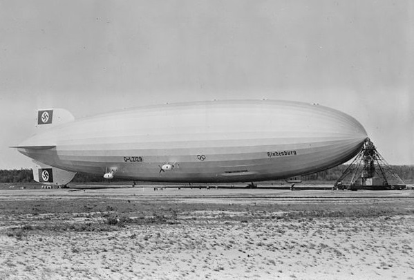 The LZ-129 Hindenburg, the famous Zeppelin, at Lakehurst Naval Air Station in 1936.