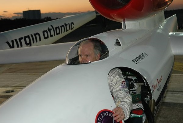 Fossett at NASA Kennedy Space Center's Shuttle Landing Facility seated in the Virgin Atlantic GlobalFlyer cockpit [Image: NASA]