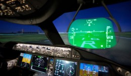 Looking through the heads-up display on the Boeing 787 simulator. (Photo by Jeremy Dwyer-Lindgren)