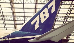 Boeing's 787 Dream Tour plane (N787BX) seen during a visit to Boston Logan International Airport. (Photo by Matt Molnar)