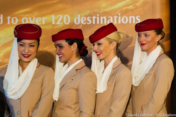 Emirates flight attendants pose for photos in Seattle