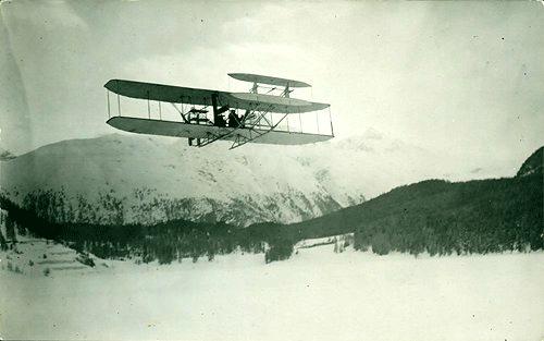 Engelhard in March 1910 flying over St. Moritz area. [Image: Dokumentationsbibliothek St. Moritz]