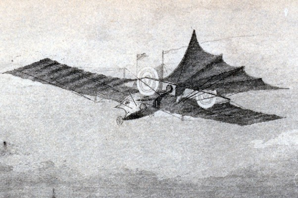 Patent drawing of the Aerial Steam Carriage soaring over the Thames River, circa 1843.