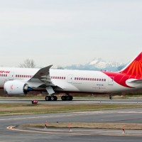 A Boeing 787-8 Dreamliner for Air India has been painted in the airline's distinctive white and red livery