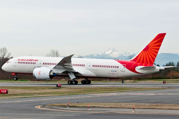 A Boeing 787-8 Dreamliner for Air India has been painted in the airline&#039;s distinctive white and red livery